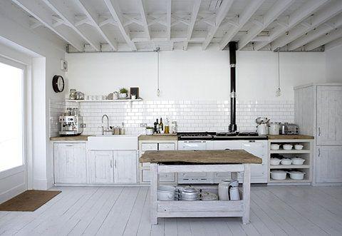 Pileta de lavar Blanca Cocinas, Blanco y Roble - Cocinas Integrales Blancas