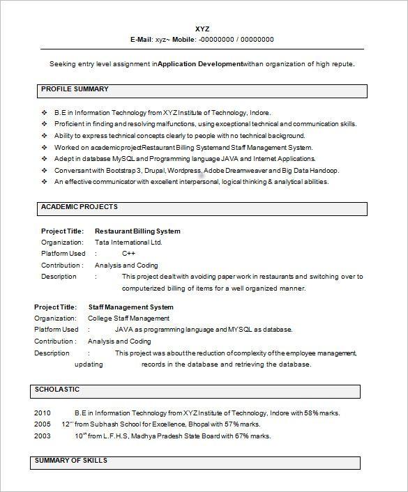 M Tech Fresher Resume Format Resume Format Pinterest Resume