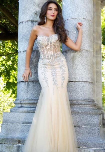 Jovani Champagne Pageant Corset Dress 5908 | Pinterest | Prom, Dress ...
