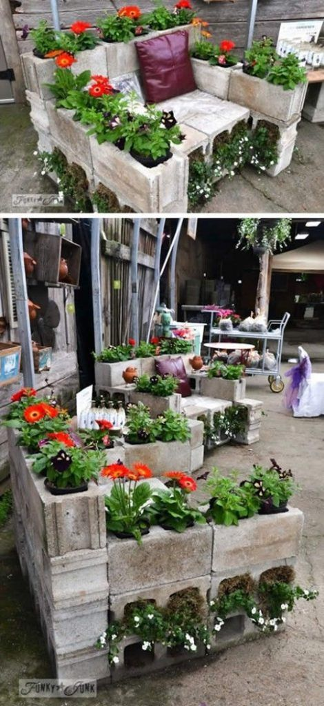 Decoração para Área Externa com Blocos de Concreto #betonblockgarten