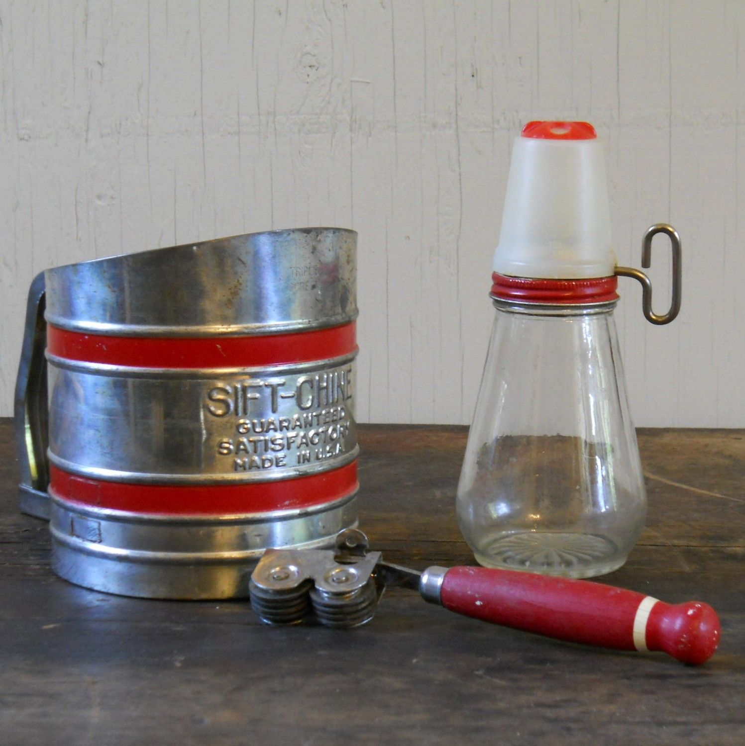 Vintage Kitchen Goods: Vintage Red Kitchen Items: Sift-Chine Sifter, Knife