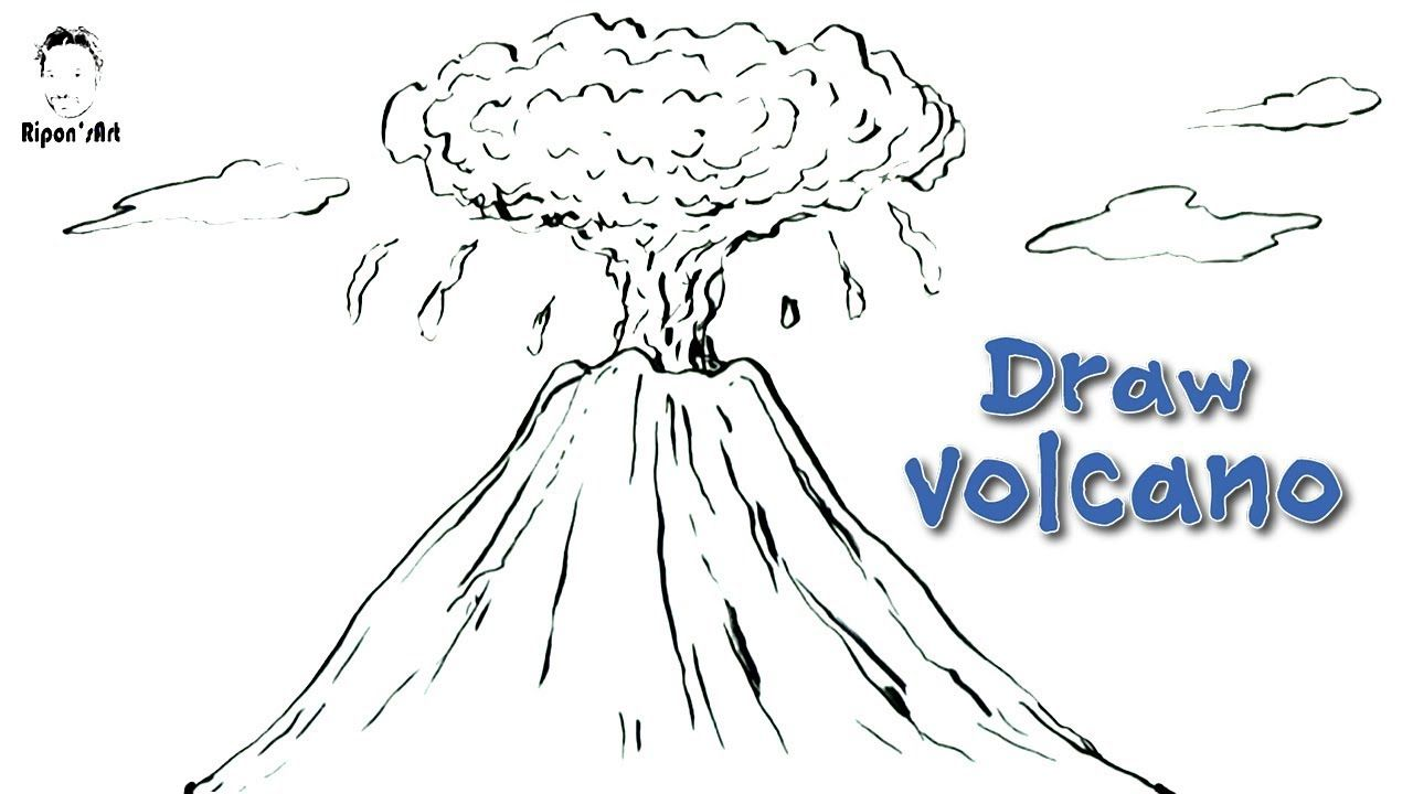 How To Draw A Volcano Easy And Step By Step Ripon S Art Volcano Drawing Drawings Volcano