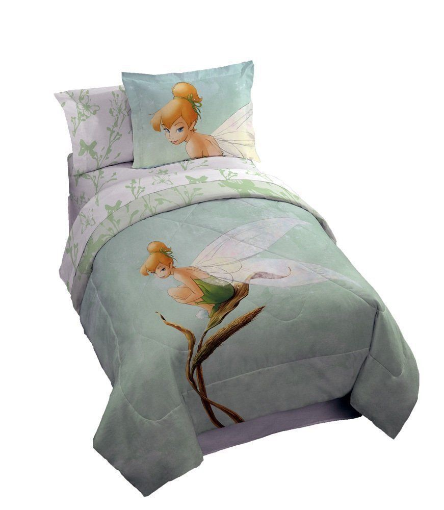 New Disney Tinkerbell 5pcs Twin Bedding Set Watercolor Tink Size