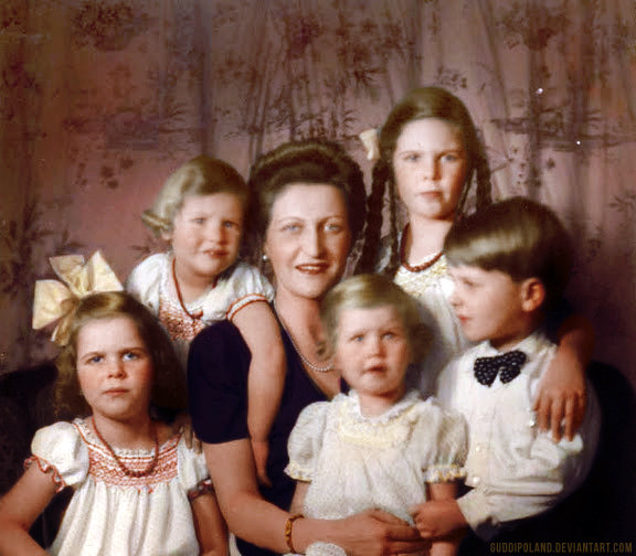 A colorized version of a portrait of Magda Goebbels and ...