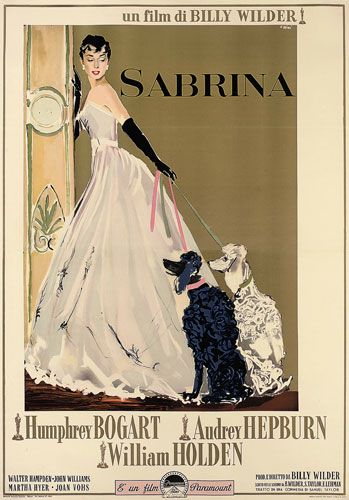 A rare Italian poster for the 1954 Audrey Hepburn romcom Sabrina, with artwork by Ercole Brini, highlighting Hepburn's Givenchy-designed wardrobe. Givenchy would go on to dress the actor in almost all her movies thereafter