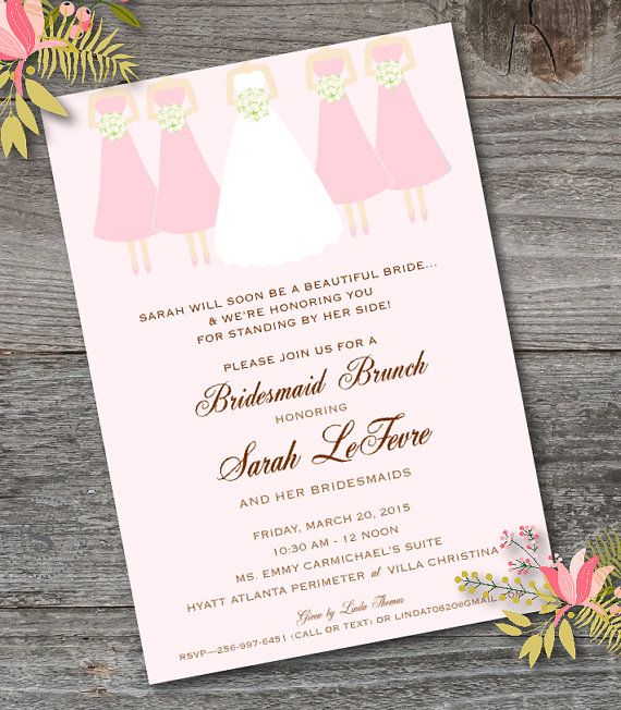 bridesmaid brunch invitation printable bridesmaid luncheon