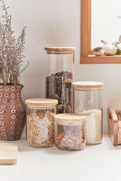 Bamboo And Glass Jar Set