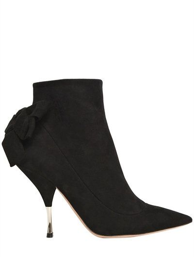 Rochas 100MM BOW SUEDE ANKLE BOOTS HzdziNge