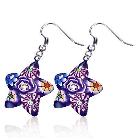 Star Handcrafted Floral Cane Work Clay & CZ Earrings ~ Two Lively Colors to Choose From