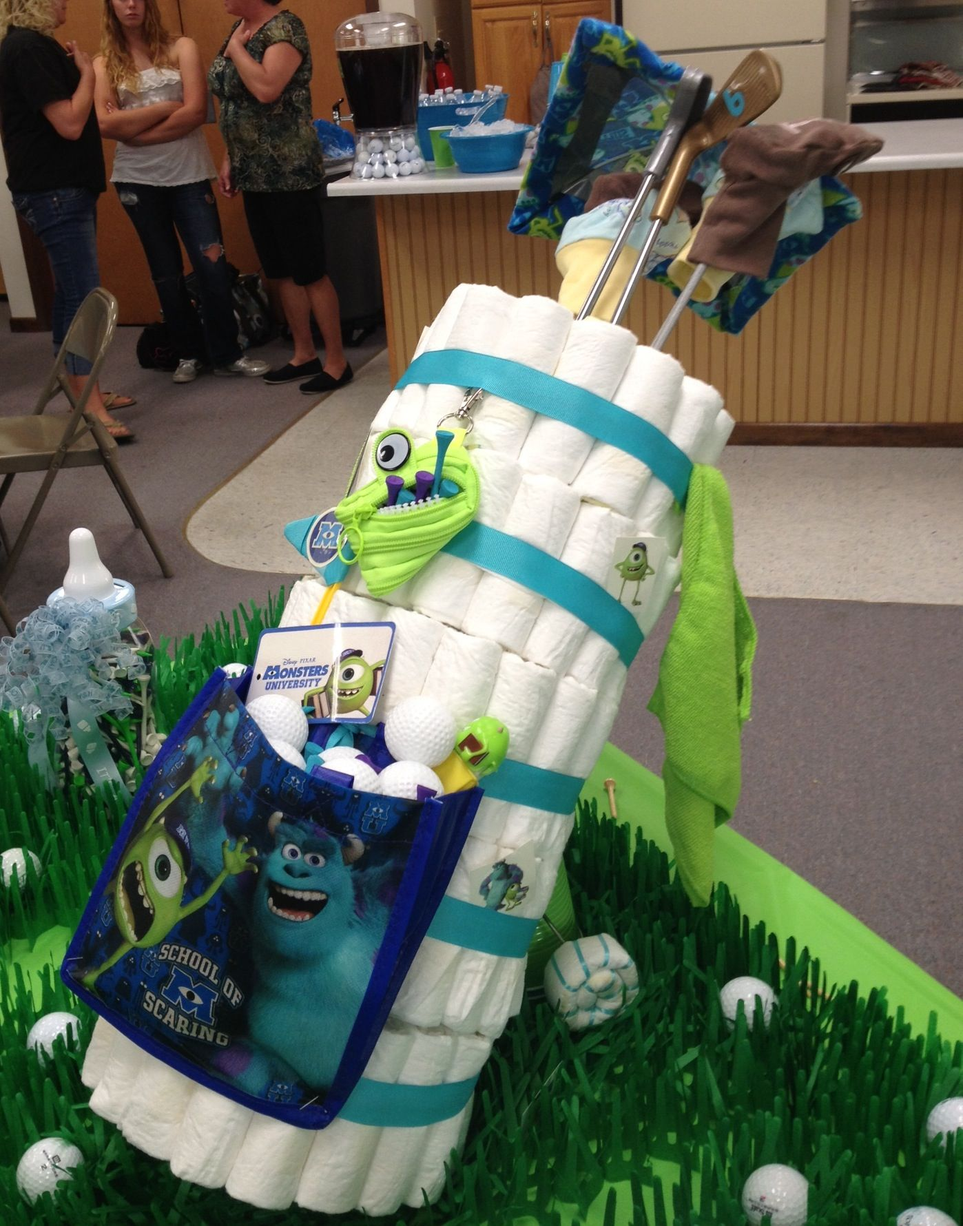 Diaper golf bag to match shower theme Decked out in Monsters Inc