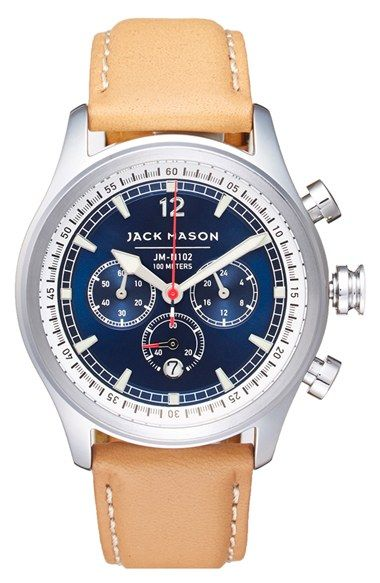 0ecdd288245 Jack Mason Brand Nautical Chronograph Leather Strap Watch