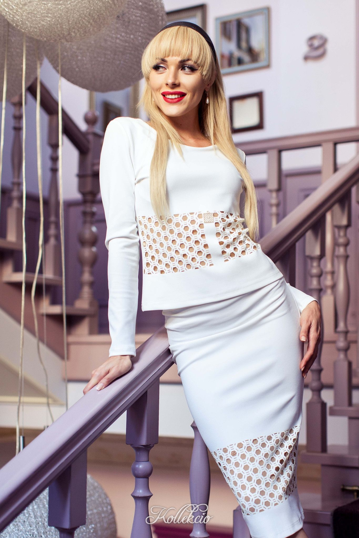 White Two Piece Business Dress Suit For Women European Luxury
