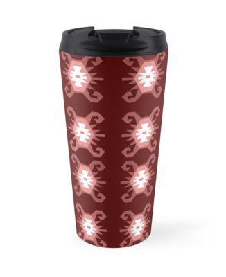 Art for travelers.Red and dusty pink kilim pattern ethnic style travel mug.High quality product designed by independent artist. Perfect gift for her.#ArtForTravelers