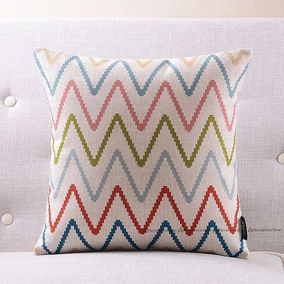 Chevron throw pillow covers set Zig zag decorative pillow covers Linen pillow cases Geometric cushion covers House warming gift idea