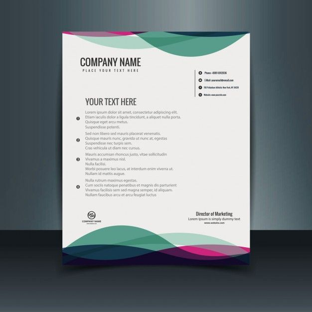 plantilla de carta con membrete colorida vector gratis