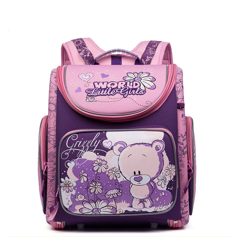 Russian Style Cartoon Cute Dogs Cats Bear School Bags for Girls Nylon  Waterproof Orthopedic Backpacks School ad24b54d27b7c