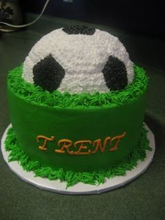 I could make this with the soccer ball in vanilla cake and the base