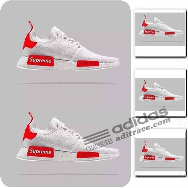 Adidas Supreme NMD_R1 Primeknit Prix Chaussure Homme Blanche