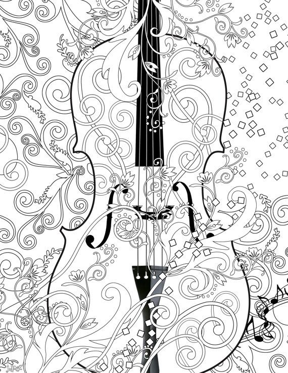 Juleez Violin Adult Coloring Page Printable FREE Poster Line Art Instant Download