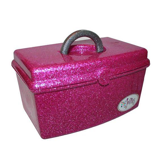 Vintage 90s Jellies Caboodles Pink Purple Glitter Makeup Case
