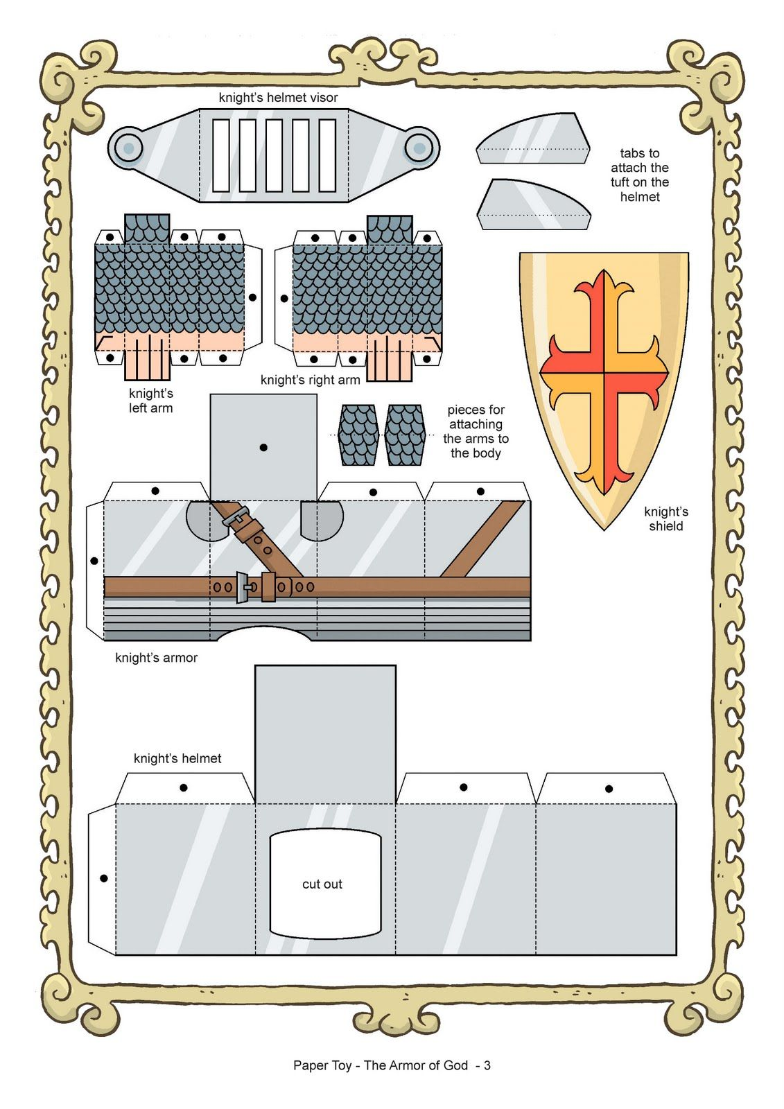 armor of god coloring pages | My Little House: Paper Toy: the Armor ...