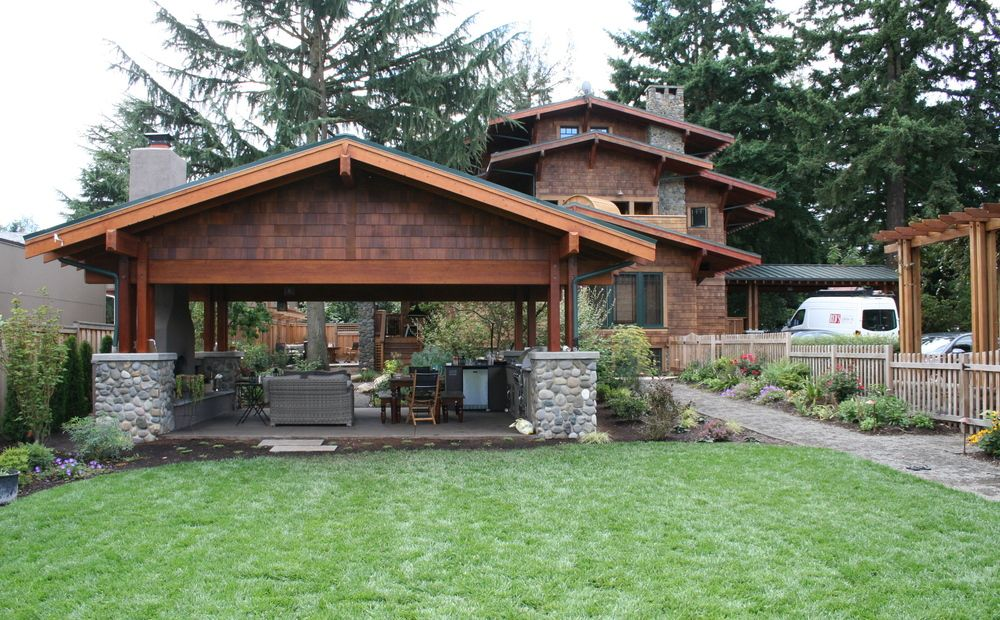 Image result for craftsman backyard Home landscaping
