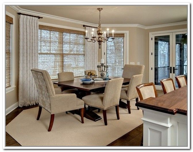 Curtain Rods For Bay Windows Dining Room Traditional With Grass Shades Neutral Color Palette Shaped Rug