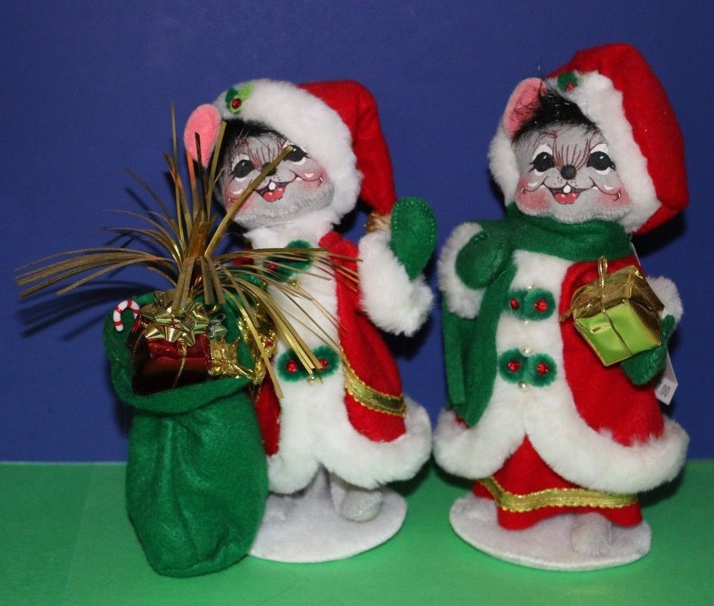 """Annalee Mr. and Mrs. Elegant Mouse 6"""" Christmas Santa Claus Mice set of 2 #babescollectibles"""
