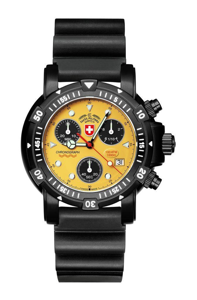 Get Diver's SW1 Scuba Nero Yellow CX SWISS MILITARY WATCH