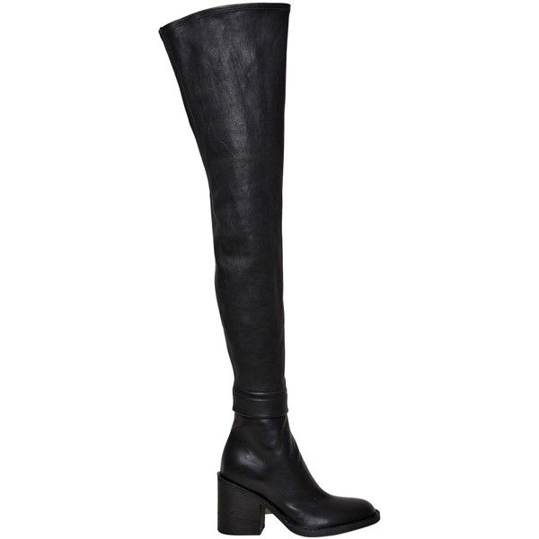 Ann Demeulemeester Women 80mm Over The Knee Stretch Leather Boots (€1.945)  ❤ liked