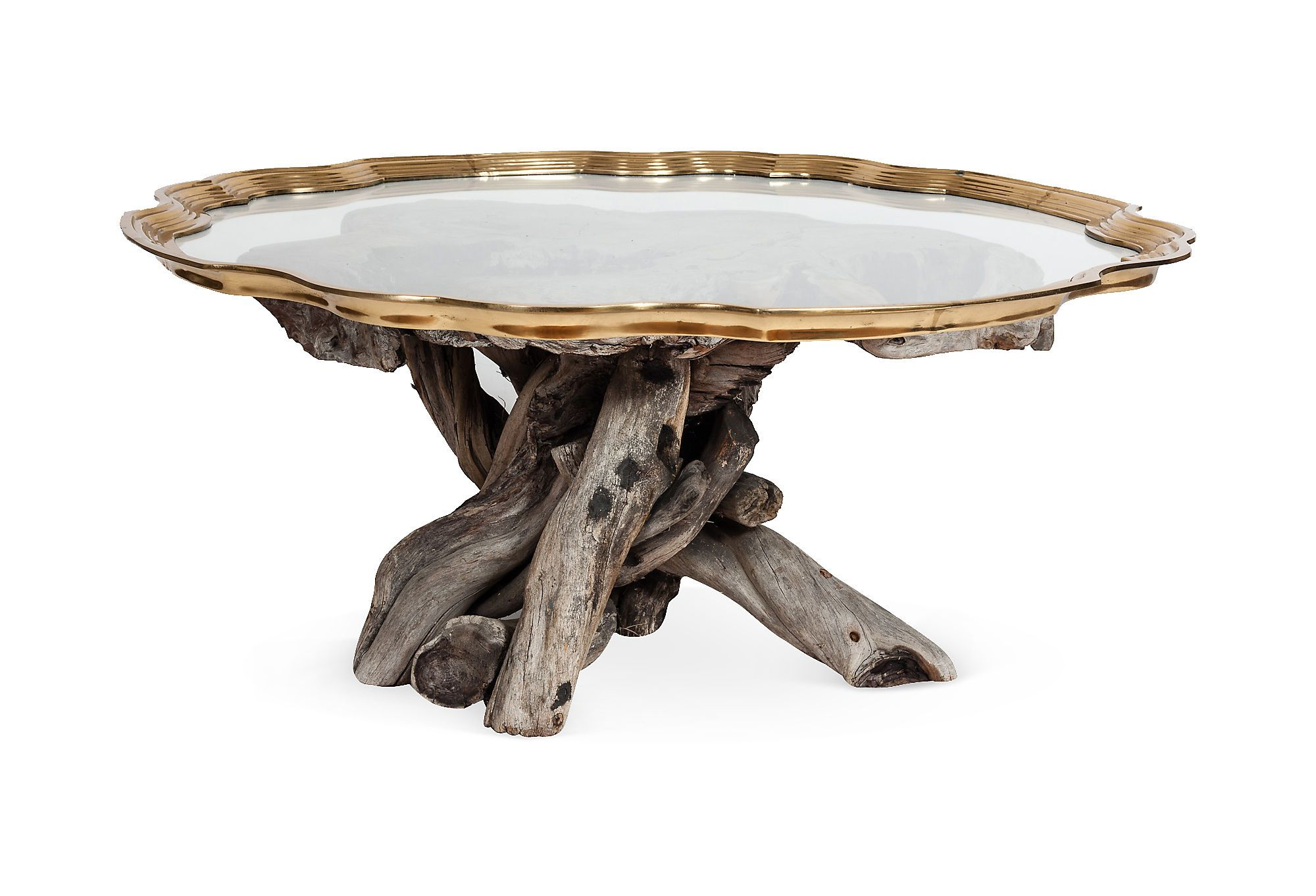 Brass glass driftwood coffee table on one kings lane