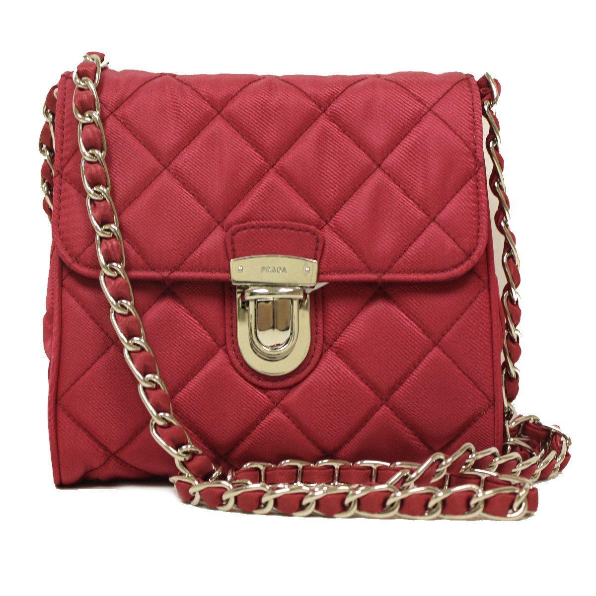 59f7061b6fcd Prada Pink Tessuto Impuntu Pattina Leather Chain Crossbody Bag ...