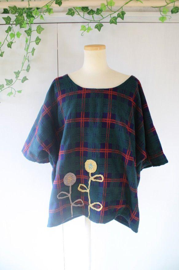 ゆーったりとしたドルマンスリーブのトップスです● オーガニックコットンの夏毛糸を編んだものを縫い付けてあります●<サイズ>平置き 着丈 68センチ バスト 6...|ハンドメイド、手作り、手仕事品の通販・販売・購入ならCreema。