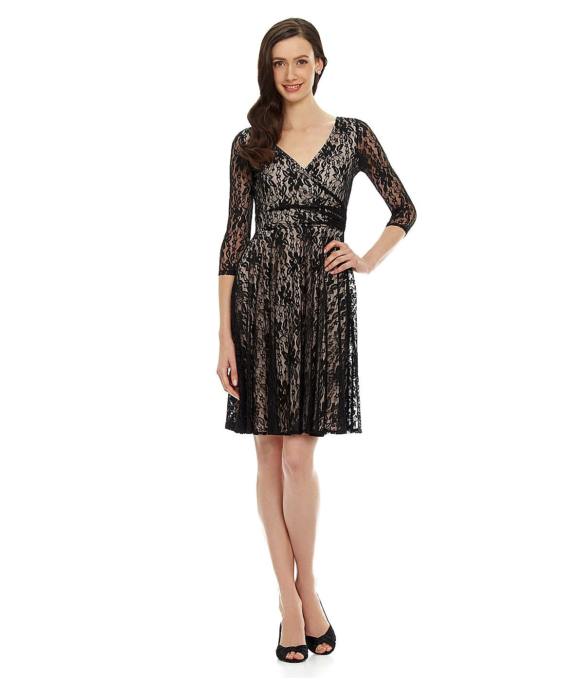 b0c336a7f69 Maggy London Lace Fit-and-Flare Dress Dillards http   www. Christmas Party  DressesPretty ...