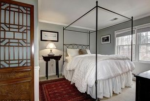 Traditional Guest Bedroom with Crown molding, Carpet, Paint1, White Queen Line Quilt, Wainscotting, Petite Chinese Side Table