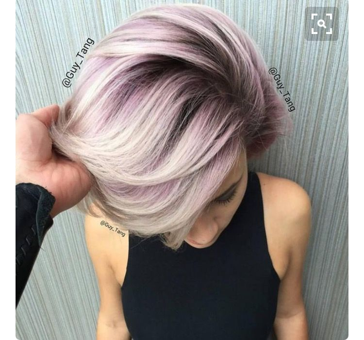 Ashy Blonde Eggplant Root Short Hair Color Metallic Hair Color Short Hair Styles