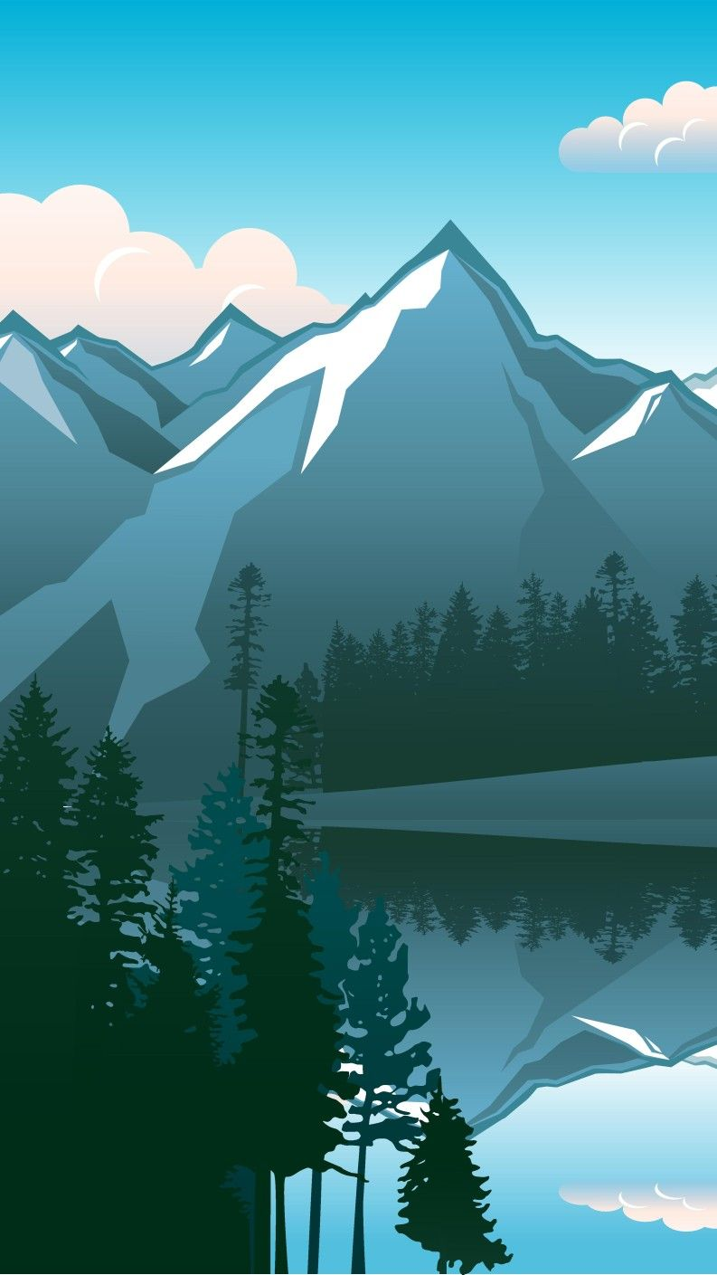 Beautiful Mountain Blue Landscape Illustration Art Digitalart
