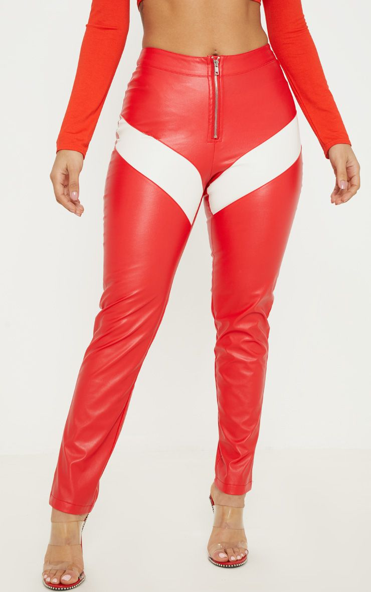 119a6f810b1b4a Red Faux Leather Zip Front Panel Detail Straight Leg Trouser in 2019 ...