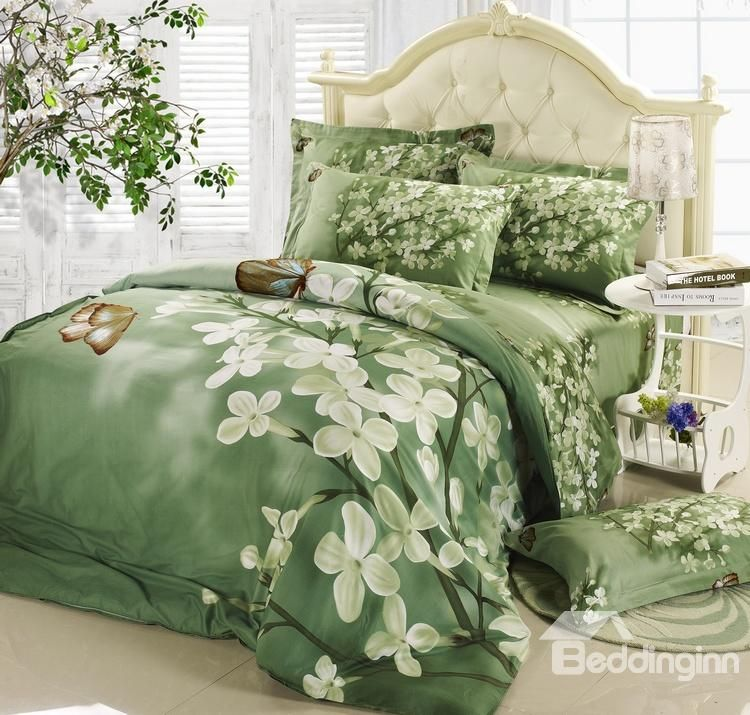 Best Selling Green With White Flowers 4 Piece Bedding Sets Bed
