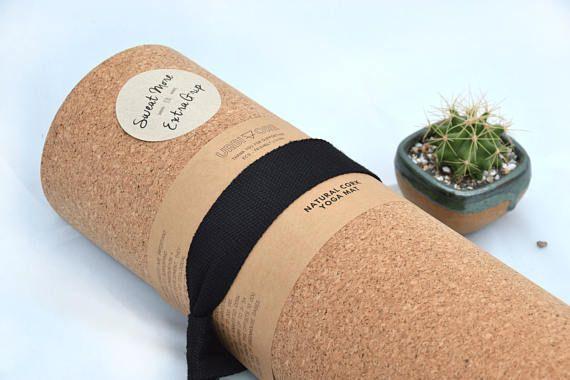 Eco cork yoga mat - 4mm - natural tree rubber bottom - great for hot yoga, meditation - sweat more for extra grip - urbivore design #corkyogamat eco friendly cork yoga mat for exceptional grip strap #corkyogamat
