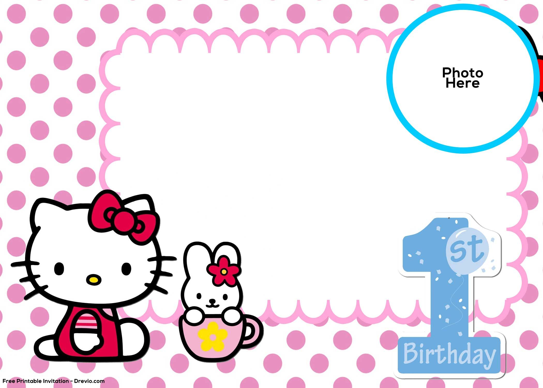 Free Hello Kitty 1st Birthday Invitation Template Hello