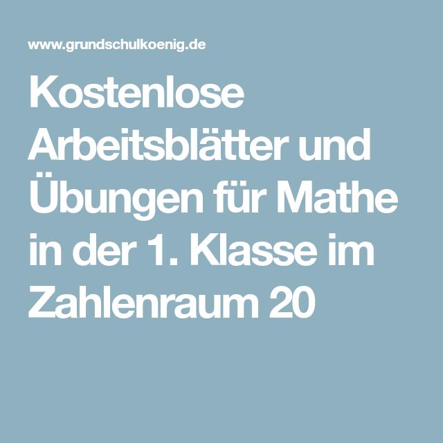 Kostenlose Arbeitsblätter und Übungen für Mathe in der 1. Klasse im ...