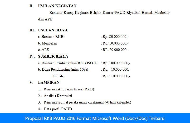 Operator Sekolah Referensi Operator Sekolah Proposal Rkb Paud 2016 Format Microsoft Word Docx Doc Terbaru Microsoft Proposal Microsoft Word