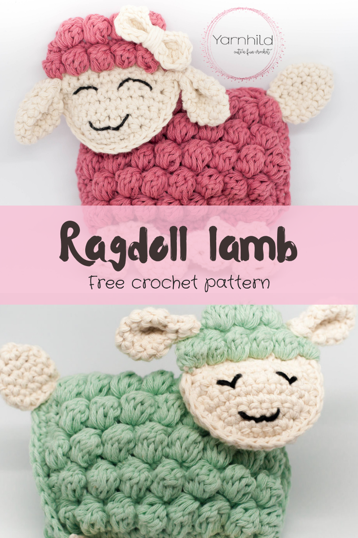 Free and easy crochet pattern for a ragdoll lamb - Sverre the Lamb #crochetapplique