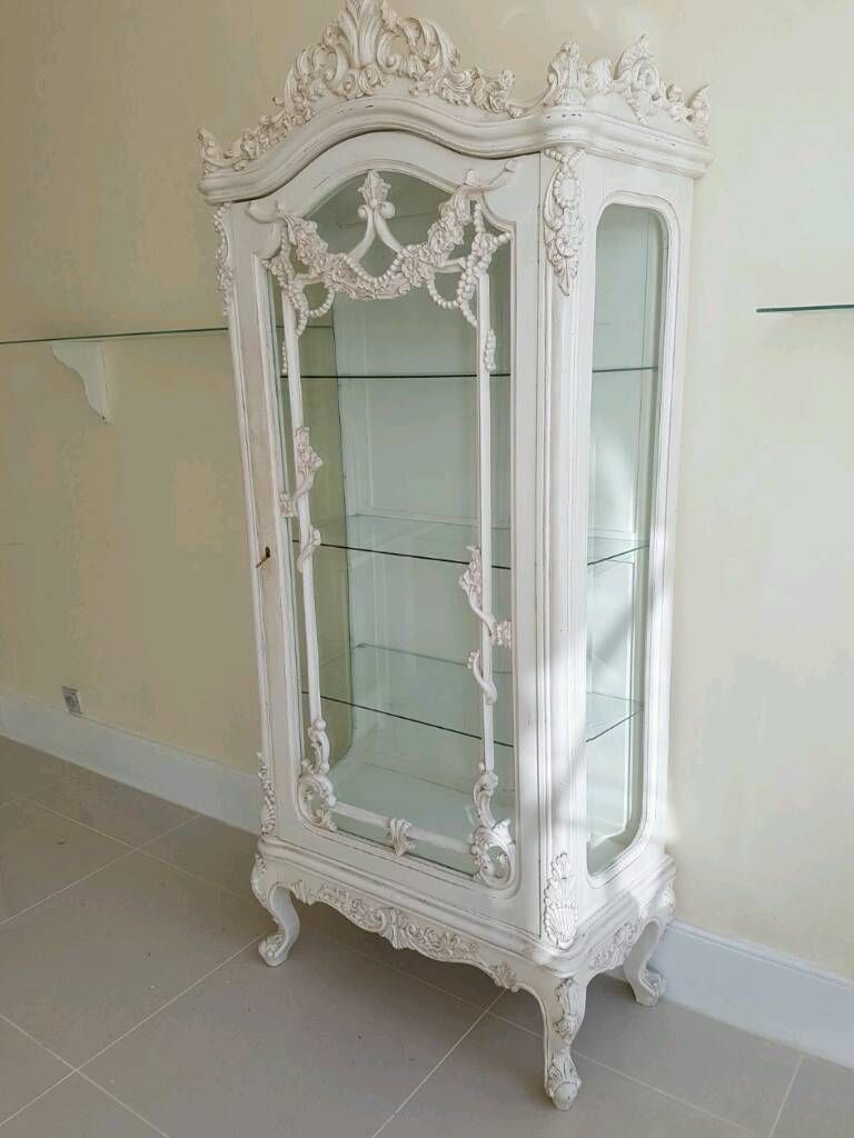 77 Down 32 5 Inch Across 15 5 Depth White French Display Cabinet