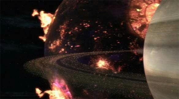 Darkseid's planet Apokolips passing Saturn on the way to ...Apokolips Smallville