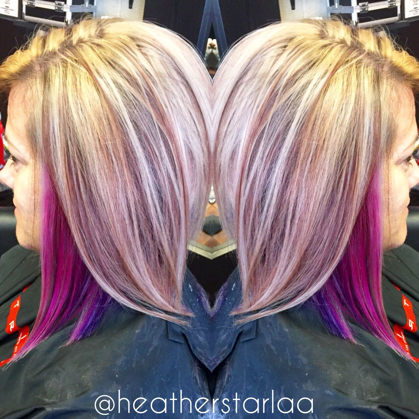 20 Purple Hair With Blonde Peekaboo Highlights Pictures And Ideas