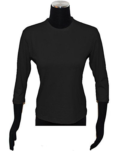 Linda Leal Womens Long Sleeve Crew Neck Top Large Black -- You can get more details by clicking on the image.