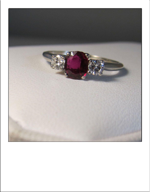 Fine vintage k madagascar ruby diamond stone ring