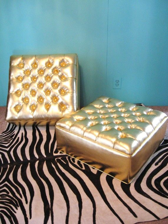 HOLLYWOOD REGENCY Gold Button TUFTED Ottomans